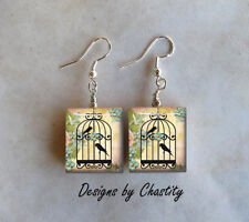 Birds Cage in a Rose Garden Earrings Tweet Bird Charm