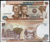 PHILIPPINES 10 PISO 2001 P 187 i SIGN 17 BLACK UNC LITTLE TONE