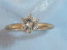 Vintage 14K Yellow Solitaire Ring, 4.8mm, .40 TCW Diamond, size 7.5