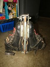 ANTIQUE Leather Ski Boots w Hanger Carrier ~ Cabin Lake Ski Lodge Decor.  D425