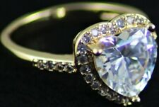 BNWOT Fashion jewellery DAZZLING ring with clear heart shaped stone U.K. Size L
