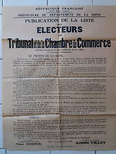 Affiche ancienne Tribunaux de Commerce Seine Original Vintage French Poster