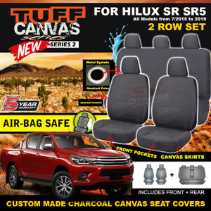 TUFF Canvas Seat Covers for Toyota Hilux Dual Cab SR5 SR 2ROWs 10/2015-21 CHARC