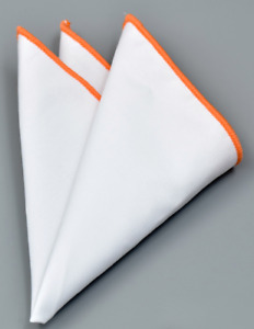 Pocket Square Orange Edged  Cotton Formal Wedding Handkerchiefs