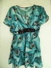Studio Y Sheer & Beautiful Feather Print Tunic Blouse/Top- Size S