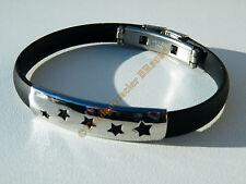 Bracelet Acier Inoxydable Caoutchouc 5 Etoiles Galaxie