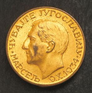 "1934, Yugoslavia, King Alexander I. Rare Gilt Bronze Coin-Like ""Mourning"" Badge."