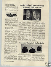 1965 PAPER AD American Character English Dolls Peggy Nisbet Doll Potrait Henry 8