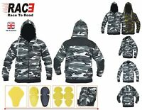 RAC3 Armoured Hoodie Motorcycle Motorbike Hoody Jacket Zip Up Removable CE Armor