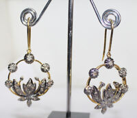 1.50cts ROSE CUT DIAMOND ANTIQUE VICTORIAN LOOK 925 SILVER DANGLER EARRING