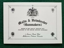 Malin & Heimbecker Gunmakers gun case trade label FREE SHIPPING