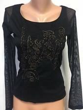 LEGATTE JEANS by SAVE THE QUEEN size S / M Blouse Top Long Sheer Sleeve Embroide