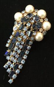 Huge Roger Scemama 1950s Baby Blue Sapphire Rhinestone Tassel Drop Dangle Brooch