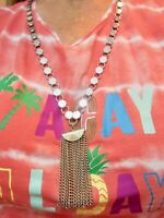 Vintage Silver Tone Shiny Tassel Necklace Extra Long 36""