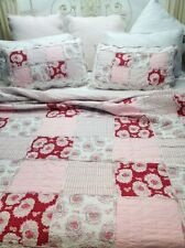 3 Pc King Antique Barn Patchwork Quilt Shabby Pottery Pink Chic Bed Set $350