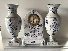 Horloge faïence Wasmuël garniture cheminée delft no boch nimy onnaing odyv amc