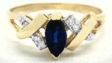 GENUINE 0.46 Cts BLUE SAPPHIRE & DIAMONDS RING 14k GOLD *** FREE APPRAISAL ***