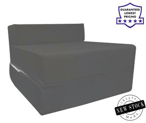 Cotton Twill Z Bed Single Fold Out Chairbed Chair Foam Folding Guest Sofa DKGrey