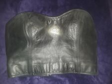Harley Davidson Black Leather Zipper Tube Top 32/4 W