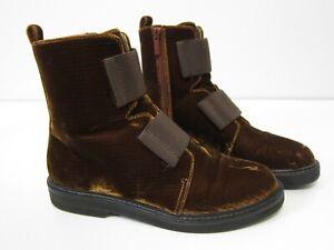 Donald Pliner Noraa Brown Velvet Zip Military Ankle Bootie Boot Women Size 7