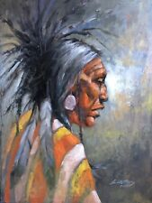 Native American Indian MEDICINE MAN original WESTERN ART oil painting Scottsdale