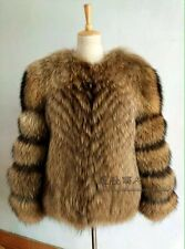 GENUINE REAL Nyctereutes procyon fin raccoon fur  Coat High Quality