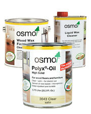 New Osmo Polyx 3043 Clear Satin, Liquid Wax Cleaner, and Wood Wax 1101 Bundle
