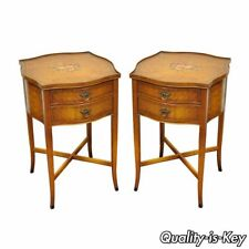 Nightstands 1900-1950 Rare Old Mahogany Matched Pr Of Night Stands 1940's