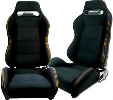 NEW 1 PAIR BLACK CLOTH + YELLOW STITCH RACING SEATS ALL FORD *****