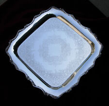 "15"" sq Silverplate Server/Platter/Tray Webster-Wilcox Footed ""AMERICAN ROSE"""