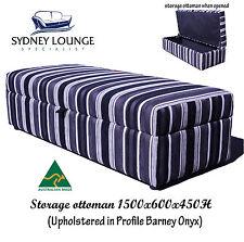 AUSTRALIAN MADE Storage ottoman 1500x600 (Barney Onyx) Stripes Sofa Lounge