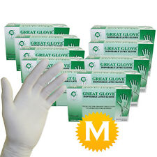 1000 Latex Powder Free Gloves - 100 gloves per box - 10 boxes - Size Medium