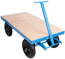 1000kg Heavy Duty Flat Bed Site Trolley Platform Hand Truck Cart Solid Wheels