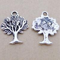 10pc Small Pendant Charm Tree Pendant Beads Tibetan Silver Accessories V52