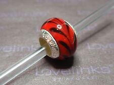 ** Genuine Lovelinks * BLACK CURRENT RED Murano Bead *