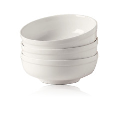 """3pcs 7. 3"""" White Bowls Round Baby-grade Porcelain for Soup Noodle Salad 32oz"""