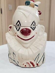 "Vintage McCoy 10"" White Pottery Clown Cookie Jar 1940 Circus Americana Creepy"