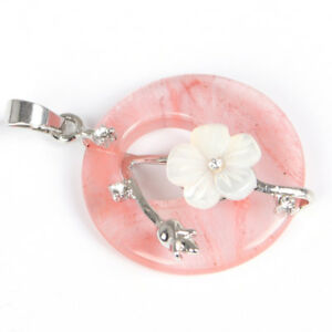 Flower Style Natural Strawberry Quartz Carved Shell Gems Silver Necklace Pendant