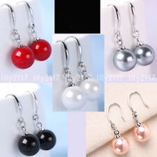 New Natural 5Colors 10mm South Sea Shell Pearl Beads Silver Hook Dangle Earrings