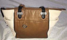 BRIGHTON 3 Tone Black/Tan/Ivory Colorblock Large Leather Tote Bag Purse-NICE