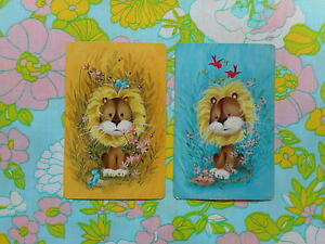 Swap/two/pair of vintage/kitsch 70's game/playing cards - cute lions and birds
