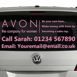 AVON Business Car Sticker For Rep OR Manager | Personalised Customer Decal [SI4]