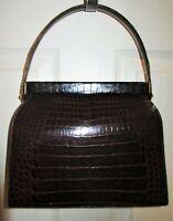 Vintage Luxury Designer MANON Genuine Brown ALLIGATOR Hand Bag Purse Superb Cond
