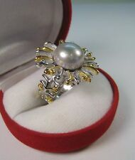 12 mm CREAMY-GREY PEARL DESIGNER RING #6.75 14k TWO-TONE GOLD-plated 925 SILVER