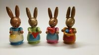 Set Of 4 Vintage Collectible Sevi Wooden Bunny Toys Figurines made in Italy