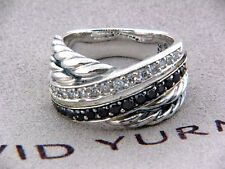 DAVID YURMAN CROSSOVER RING WITH BLACK AND WHITE DIAMONDS SIZE 5.75