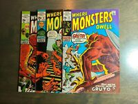 Where Monsters Dwell 3 Book lot  #7,8,11 Marvel Comics ~ 1971 FN-VG