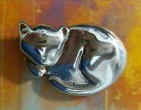 Vintage Cat Brooch Pin Liz Claiborne 925 Sterling Silver Designer Signed HTF
