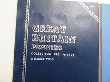 15 Great Britain Pennies, 1888-1901 w/ extra 1896, Whitman Folder