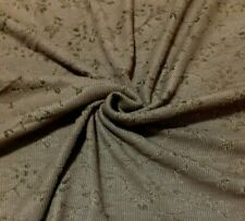 FLORAL FIGURED VISCOSE POLYESTER KHAKI JERSEY FABRIC- SOLD BY THE METRE